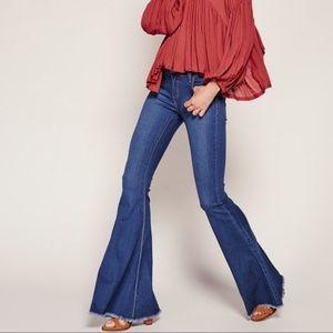 Free People Blue Super Flare Jeans Raw Hem 25